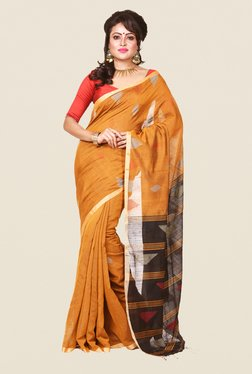Bengal Handloom Mustard & Black Cotton Silk Saree