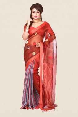 Bengal Handloom Maroon & Blue Resham Silk Saree