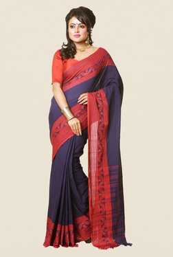 Bengal Handloom Navy Branded Pure Cotton Saree