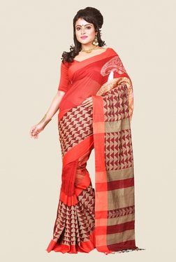 Bengal Handloom Red & Beige Silk Saree