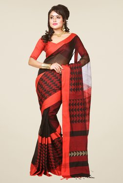 Bengal Handloom Red & Black Silk Saree
