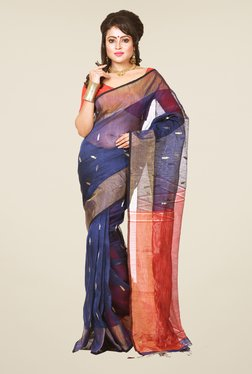 Bengal Handloom Navy & Red Resham Silk Saree