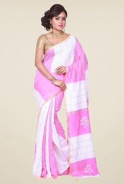 Bengal Handloom White & Pink Silk Saree