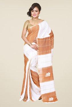 Bengal Handloom White & Brown Silk Saree