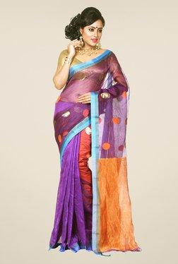 Bengal Handloom Purple & Orange Resham Silk Saree