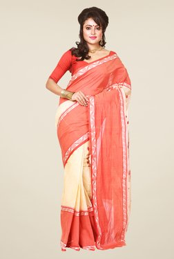 Bengal Handloom Beige & Red Cotton Saree