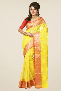 Bengal Handloom Yellow Jamdani Cotton Silk Saree