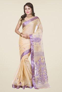 Bengal Handloom Beige & Purple Tussar Silk Saree
