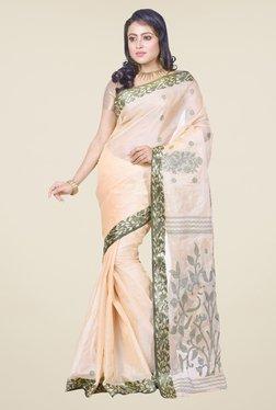 Bengal Handloom Beige & Olive Tussar Silk Saree