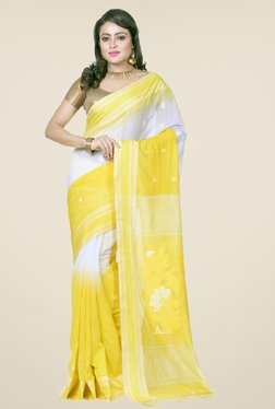 Bengal Handloom Yellow & White Cotton Silk Saree