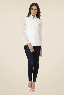 Soie White Embroidered Top