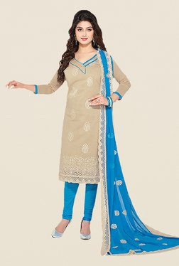 Ishin Beige & Blue Embroidered Unstitched Dress Material