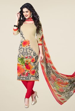Ishin Beige & Red Printed Unstitched Dress Material - Mp000000000471888