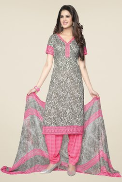 Ishin Grey & Pink Printed Unstitched Dress Material