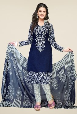 Ishin Blue & White Printed Unstitched Dress Material - Mp000000000471929