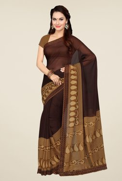 Ishin Brown Faux Georgette Paisley Print Saree