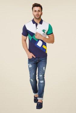 Spunk Navy Cut & Sew Polo T-shirt