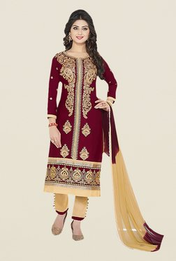 Ishin Brown & Beige Embroidered Unstitched Dress Material