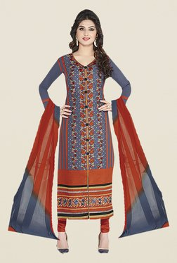 Ishin Grey & Orange Embroidered Unstitched Dress Material