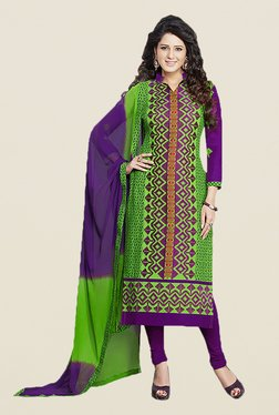 Ishin Green & Purple Embroidered Unstitched Dress Material