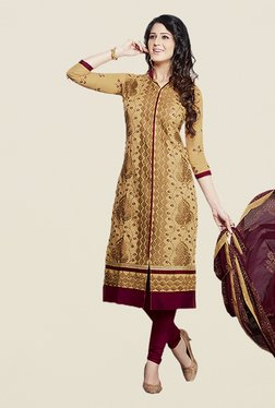 Ishin Beige & Maroon Embroidered Unstitched Dress Material
