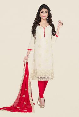 Ishin White & Red Embroidered Unstitched Dress Material