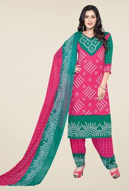 Ishin Pink & Green Printed Unstitched Dress Material