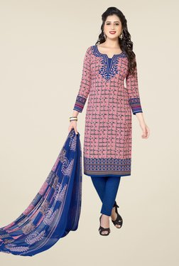 Ishin Peach & Blue Printed Unstitched Dress Material