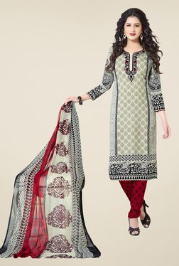Ishin Beige & Red Printed Unstitched Dress Material - Mp000000000473487