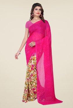 Ishin Pink & Beige Faux Georgette Floral Print Saree - Mp000000000473541