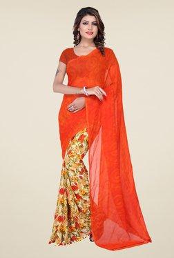 Ishin Orange & Beige Faux Georgette Floral Print Saree