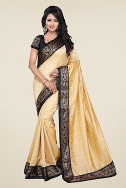 Ishin Beige Banarsi Silk Printed Saree