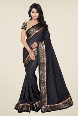 Ishin Black Banarsi Silk Printed Saree