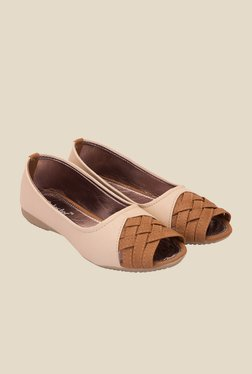 Solester Beige & Tan Peeptoe Shoes