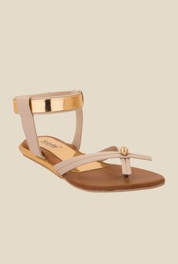 Solester Beige & Golden Back Strap Sandals