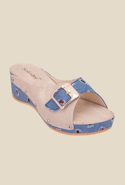 Solester Blue & Beige Wedge Heeled Sandals