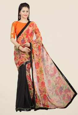 Jashn Orange & Black Floral Print Georgette Saree