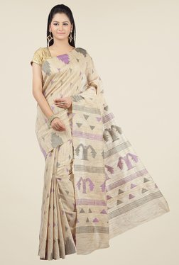 Jashn Beige & Purple Geometric Print Saree