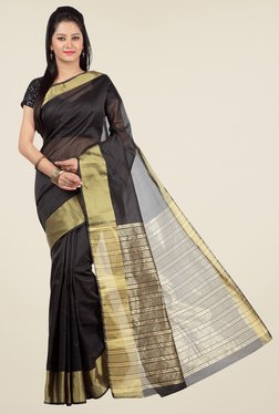 Jashn Black Solid Saree