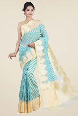Jashn Beige & Turquoise Striped Saree