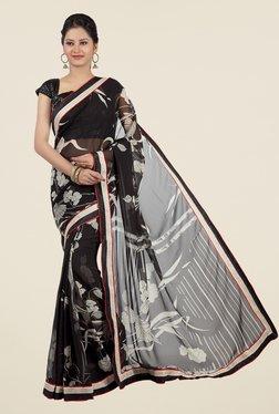 Jashn Black Floral Print Chiffon Saree