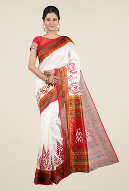 Jashn White And Red Printed Jacquard Saree