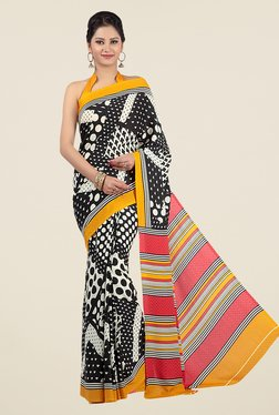 Jashn Black And Red Geometric Print Saree