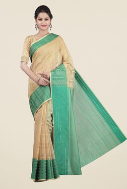 Jashn Beige & Green Checks Saree