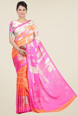 Jashn Orange & Pink Printed Saree