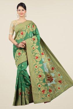 Jashn Green Floral Print Saree