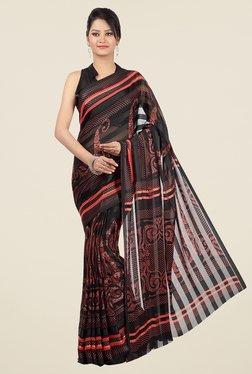 Jashn Black & Red Paisley Print Saree