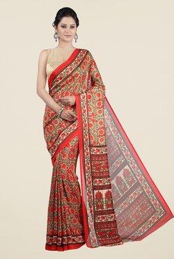 Jashn Red & Beige Floral Print Saree