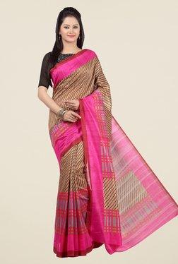 Jashn Brown And Pink Striped Saree