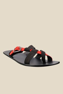 Signature by Metro Black & Red Slide Sandals